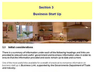 Home Staging Business ebook section 3 Business start up - start of page